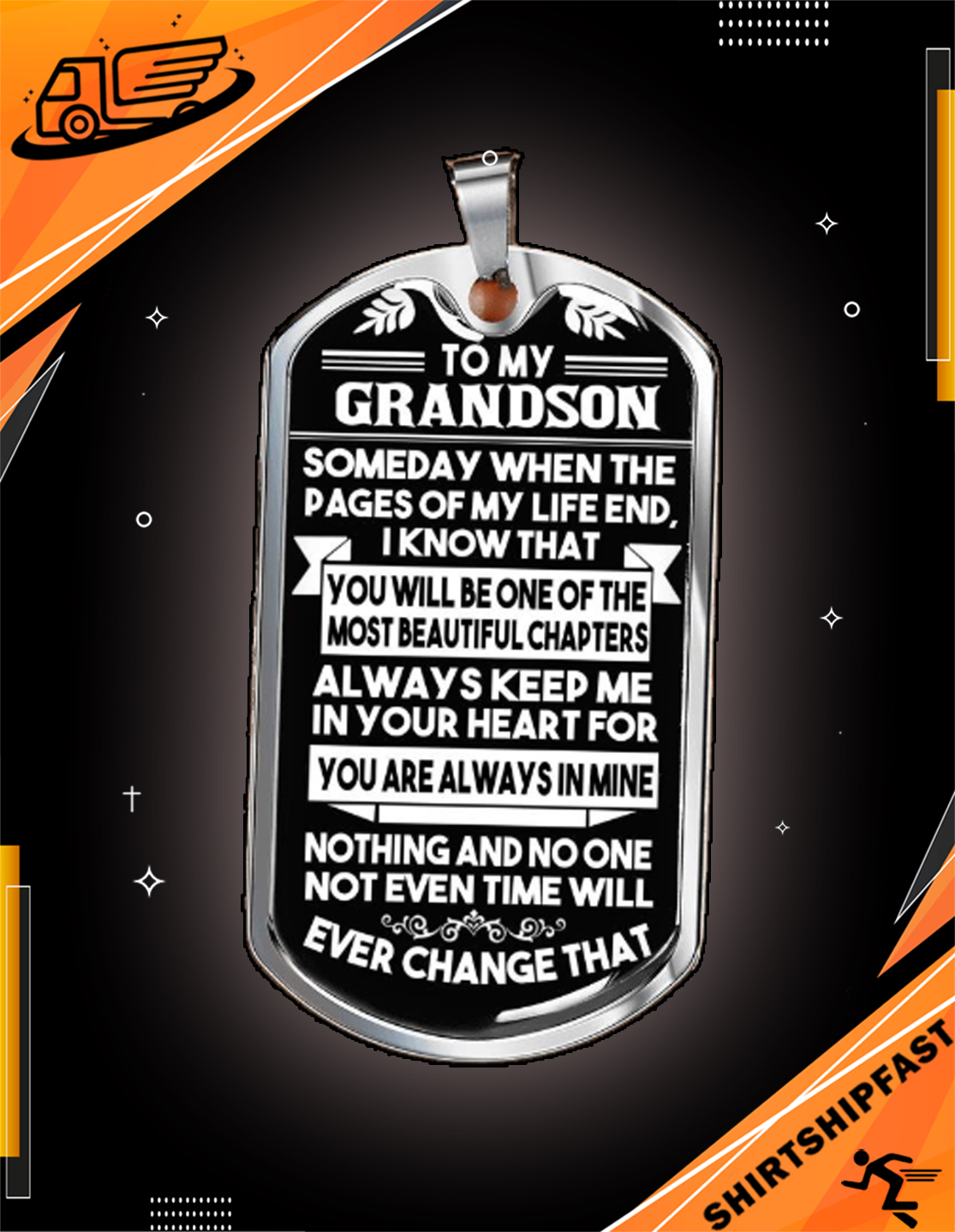 To my grandson someday when the pages of my life dog tag - Picture 3