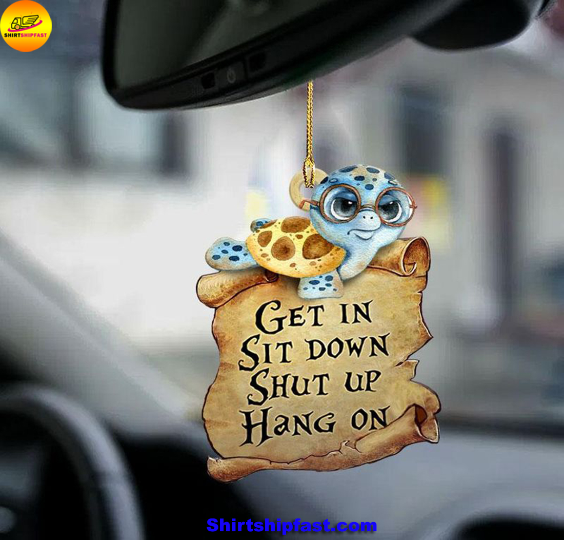 Turtle get in sit down car hanging ornament