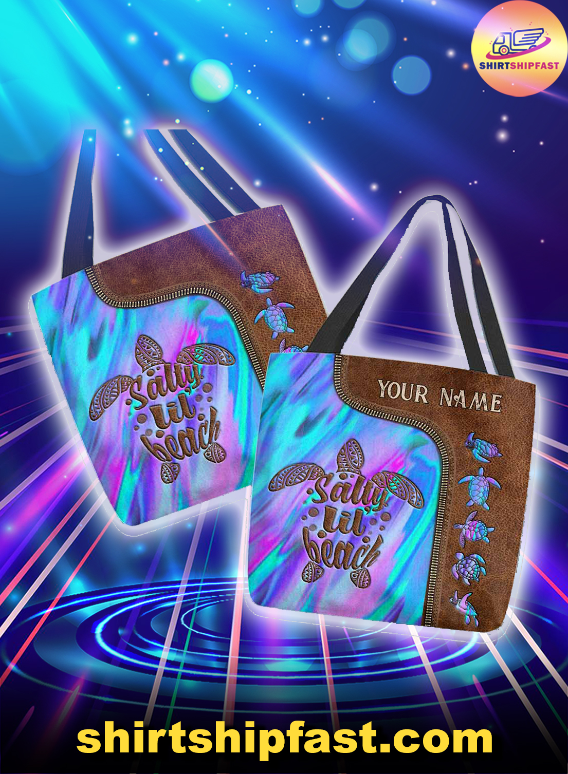 Turtle salty lil' beach personalized custom name tote bag - Picture 1