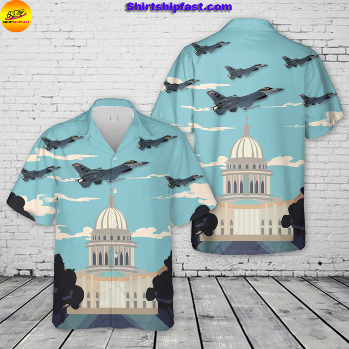 US Air Force Wisconsin Air National Guard 115th Fighter Wing F-16 Fighting Falcon Hawaiian Shirt - Picture 1