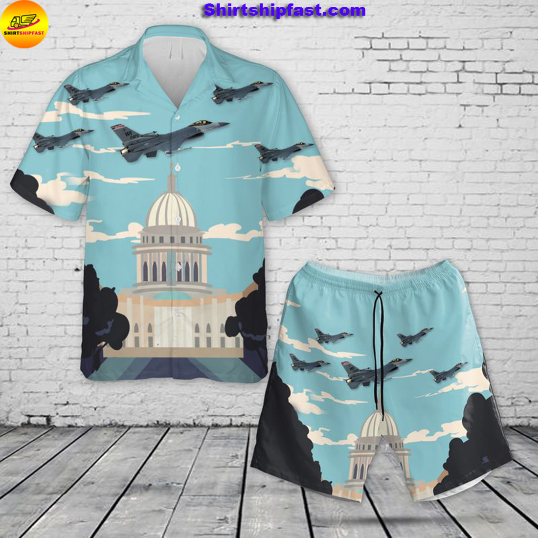 US Air Force Wisconsin Air National Guard 115th Fighter Wing F-16 Fighting Falcon Hawaiian Shirt