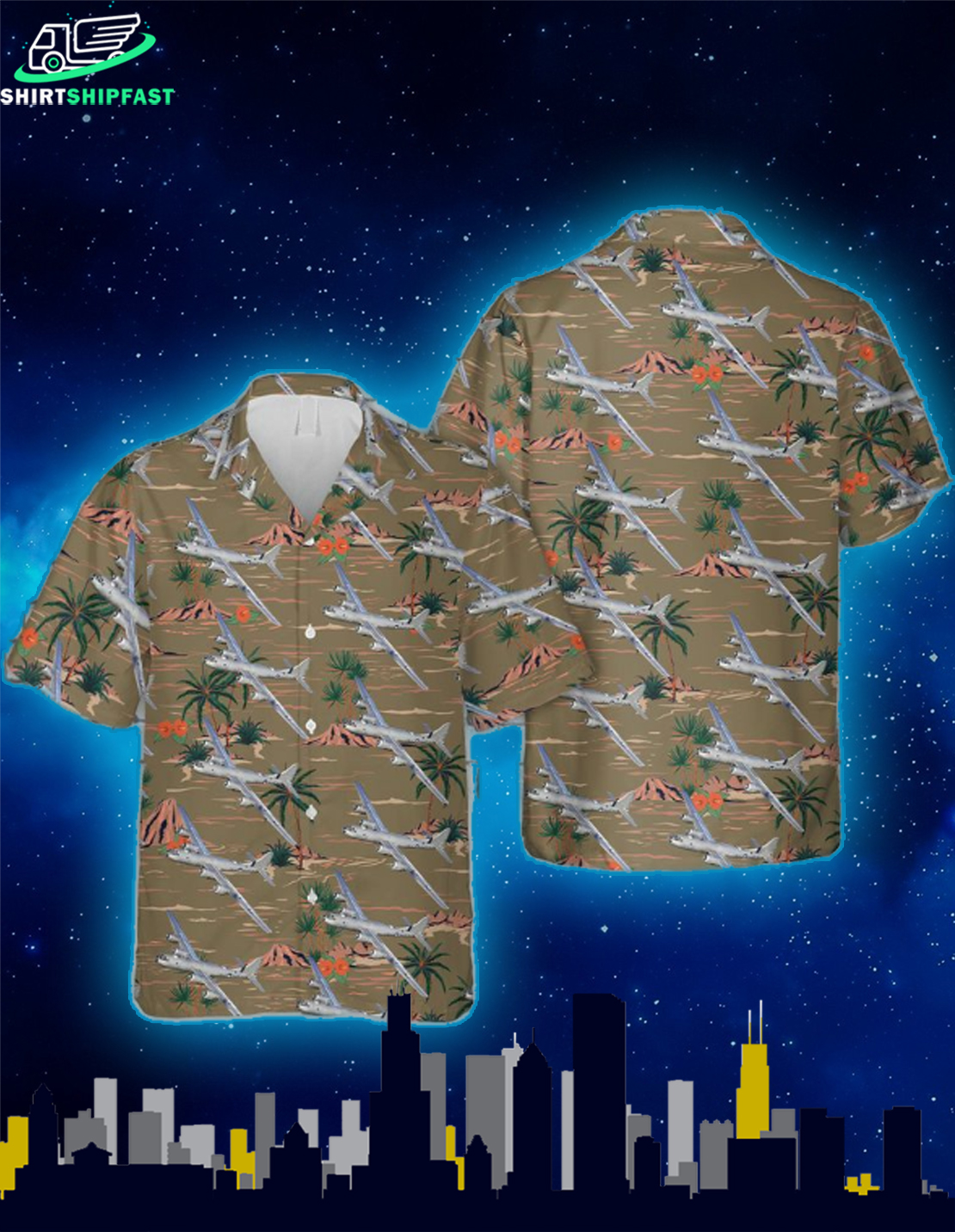WB-29A Superfortress of the 53rd WRS Hawaiian Shirt - Picture 1
