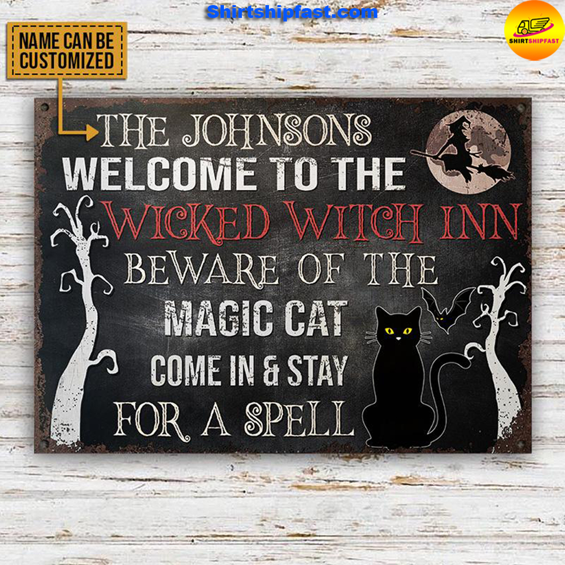 Welcome to the wicked witch inn beware of the magic cat custom name metal sign - Picture 1