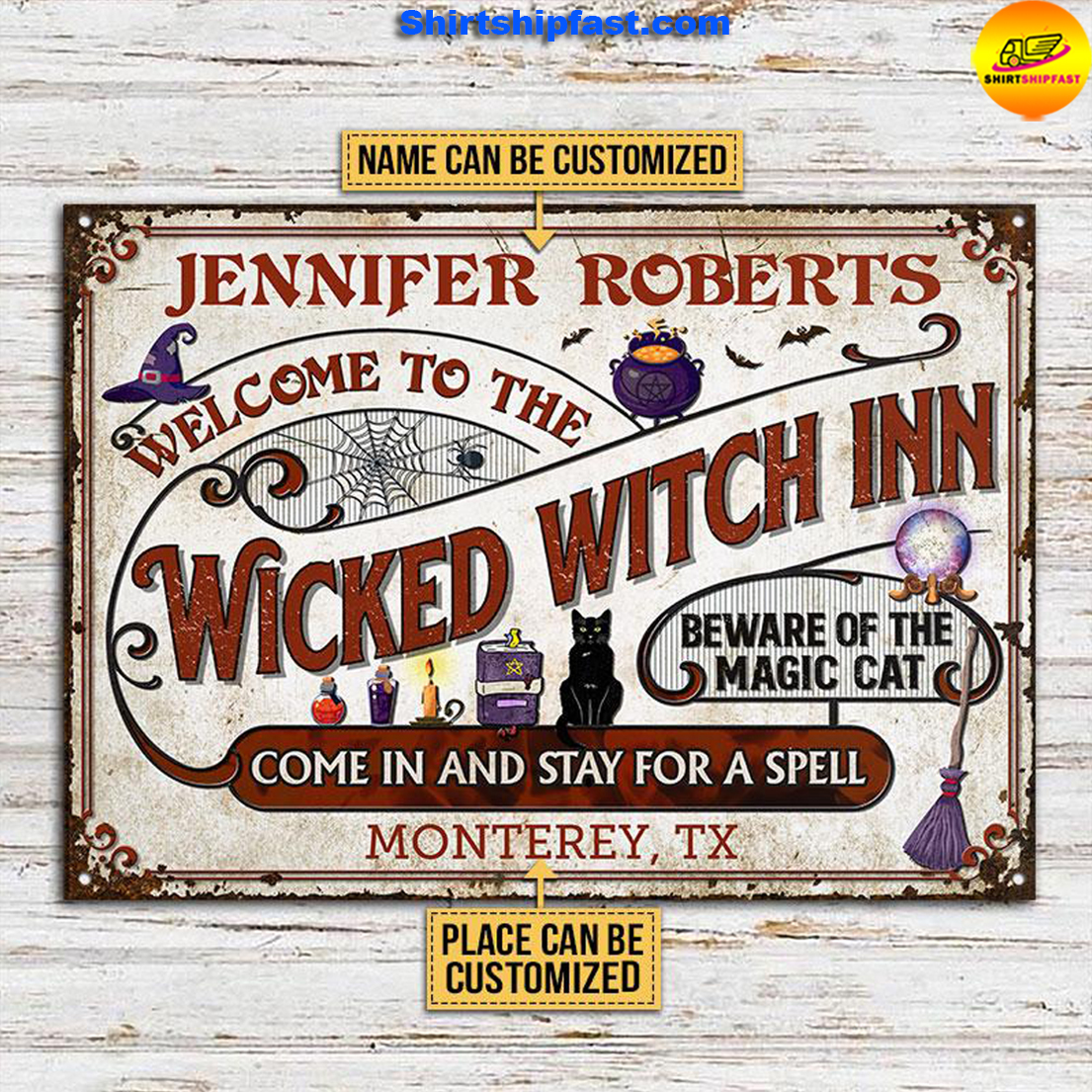 Witch Inn Black Cat Stay For A Spell Custom Classic Metal Signs - Picture 1
