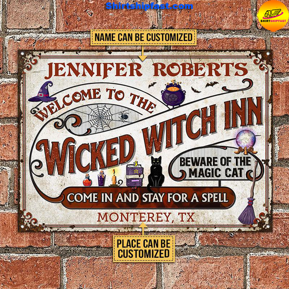 Witch Inn Black Cat Stay For A Spell Custom Classic Metal Signs