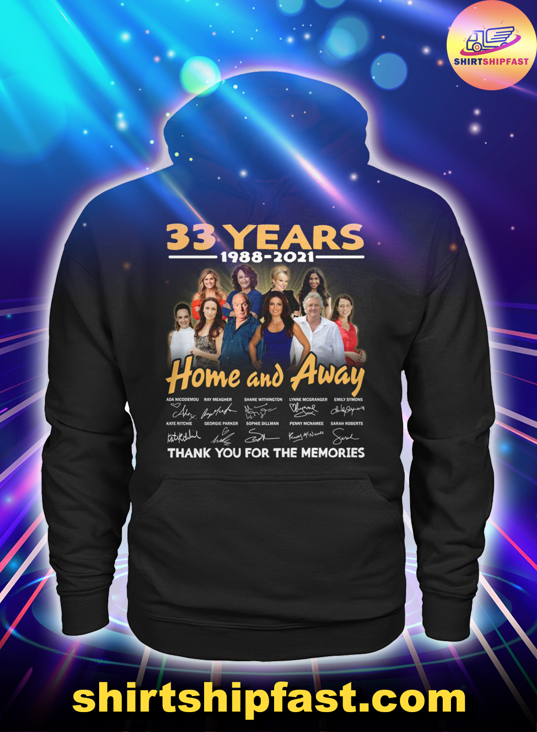 33 years 1988 2021 Home and Away signatures thank you for the memories hoodie