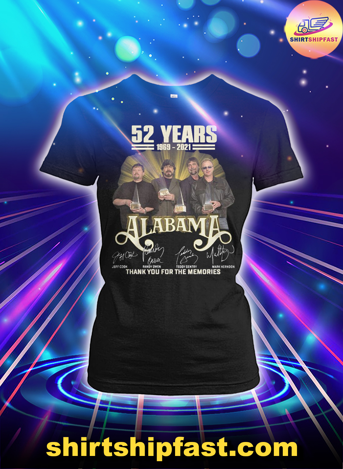 52 years 1969 2021 Alabama signatures thank you for the memories lady shirt
