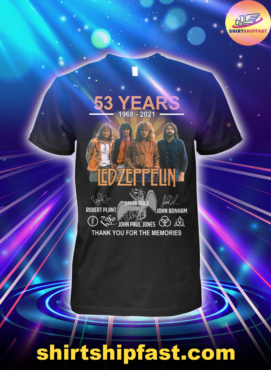 53 years 1968 2021 Led Zeppelin signatures thank you for the memories shirt