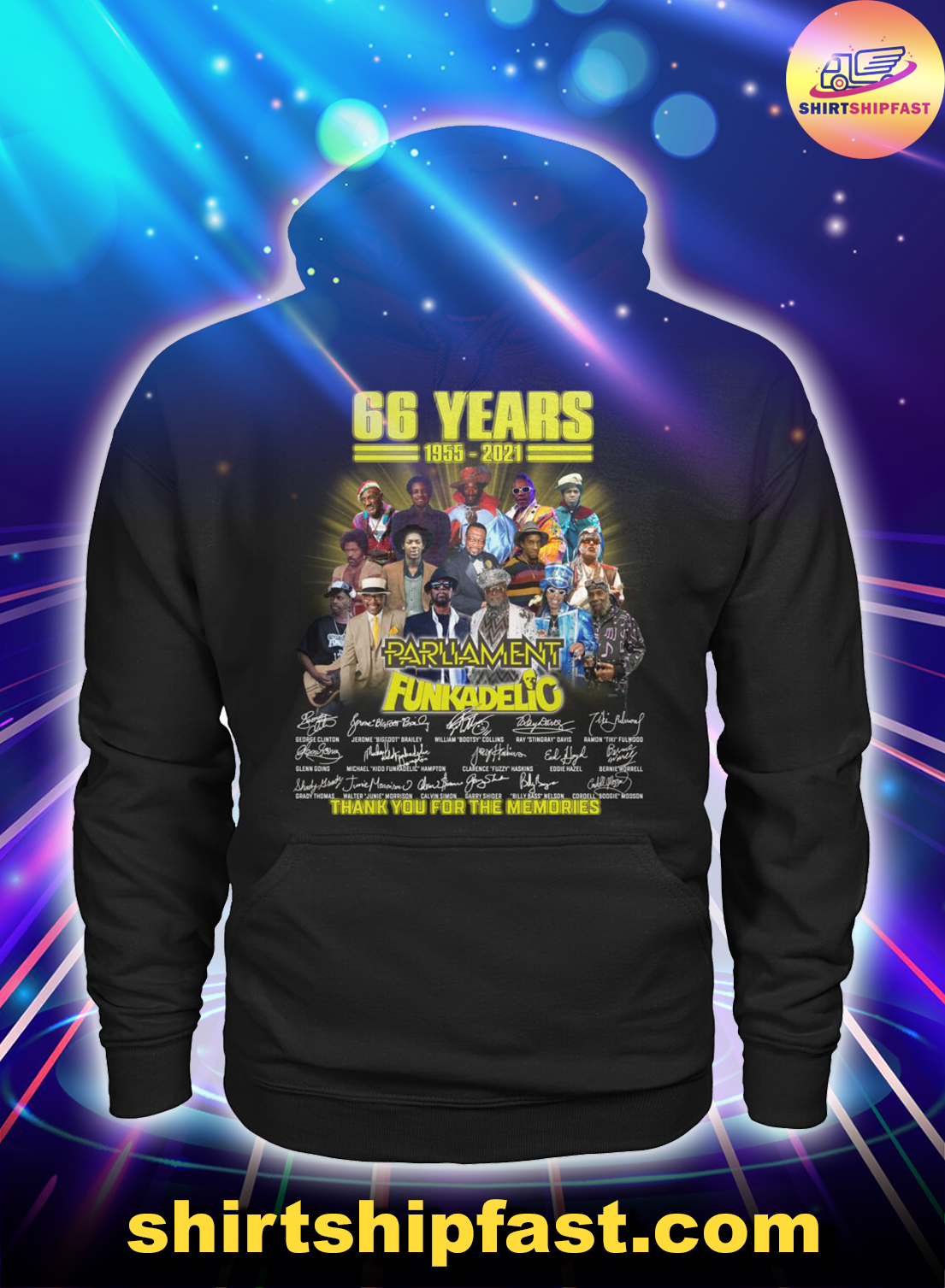 66 years 1955 2021 Parliament Funkadelic thank you for the memories hoodie
