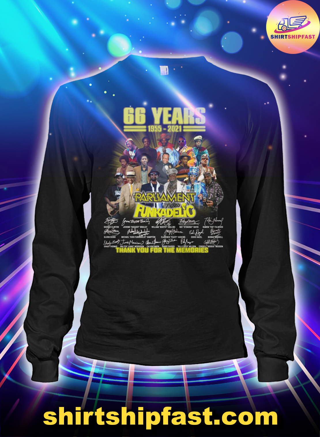 66 years 1955 2021 Parliament Funkadelic thank you for the memories long sleeve tee