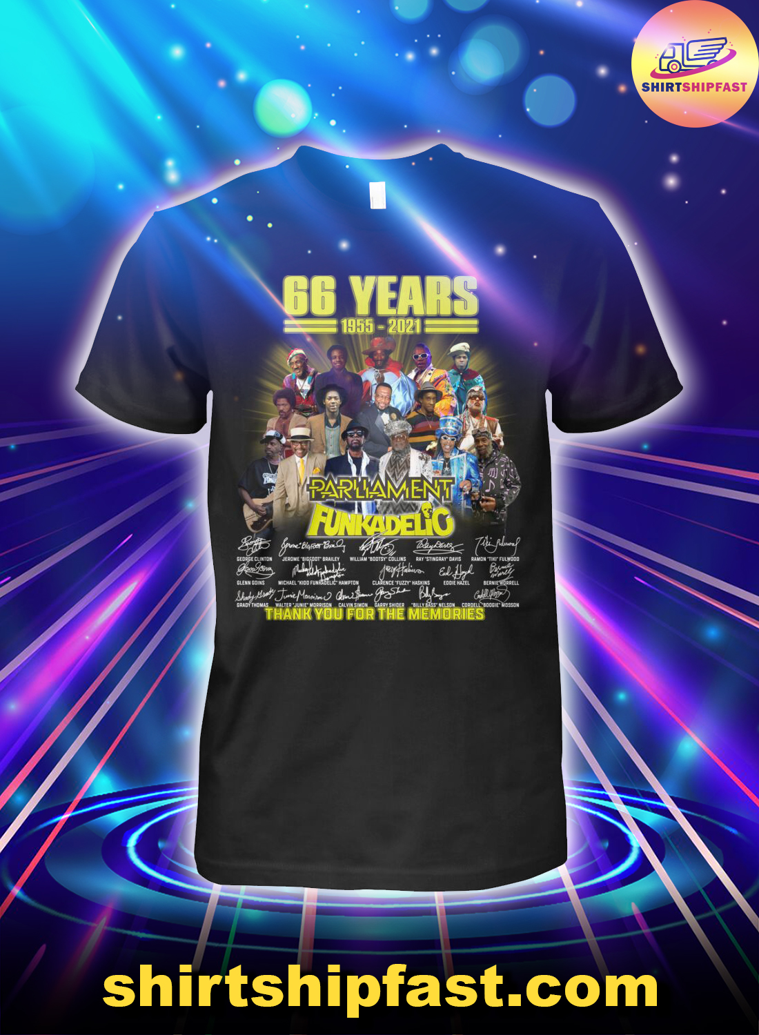 66 years 1955 2021 Parliament Funkadelic thank you for the memories shirt