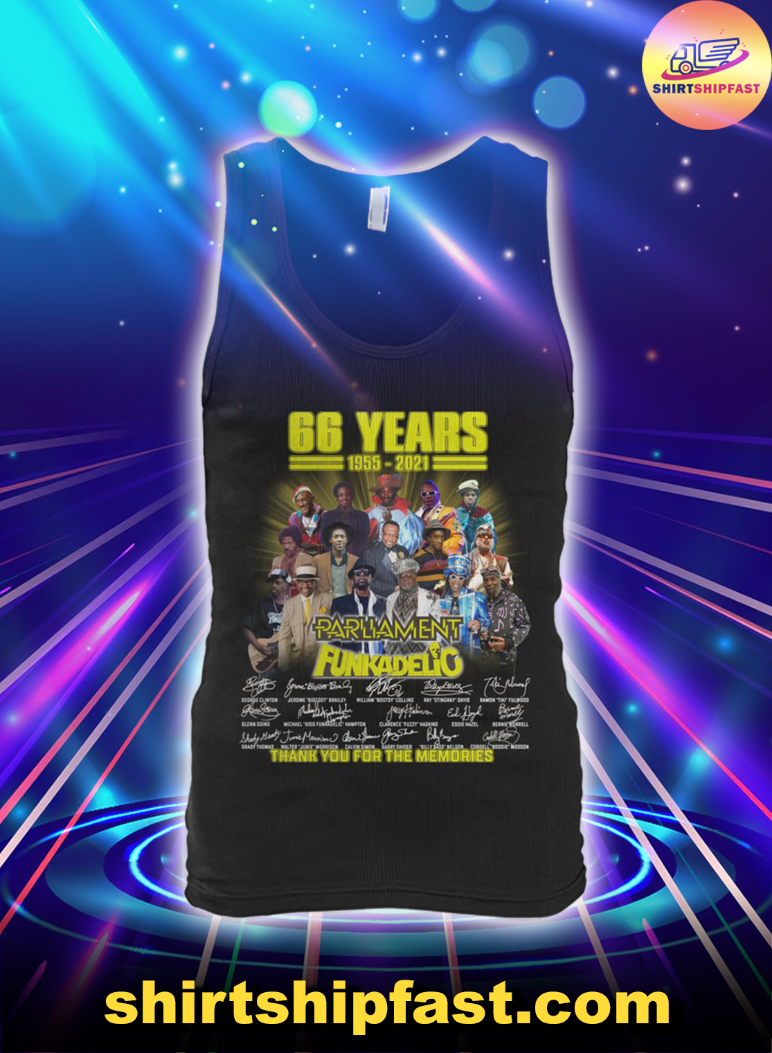 66 years 1955 2021 Parliament Funkadelic thank you for the memories tank top
