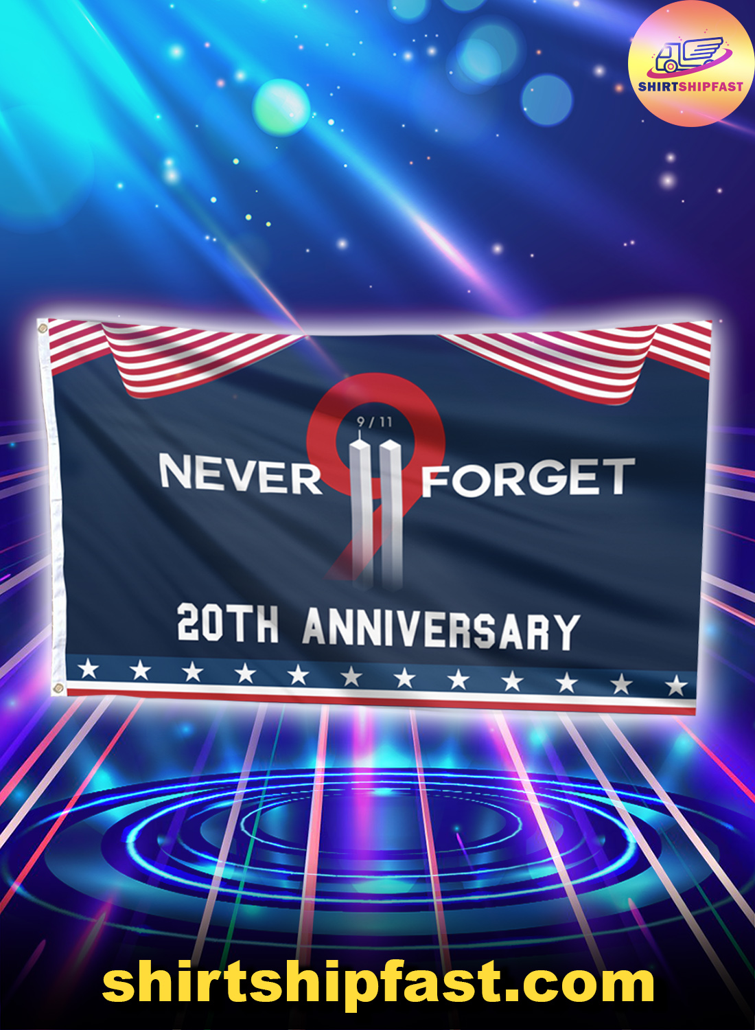 9 11 Never forget 20th anniversary flag - Picture 1