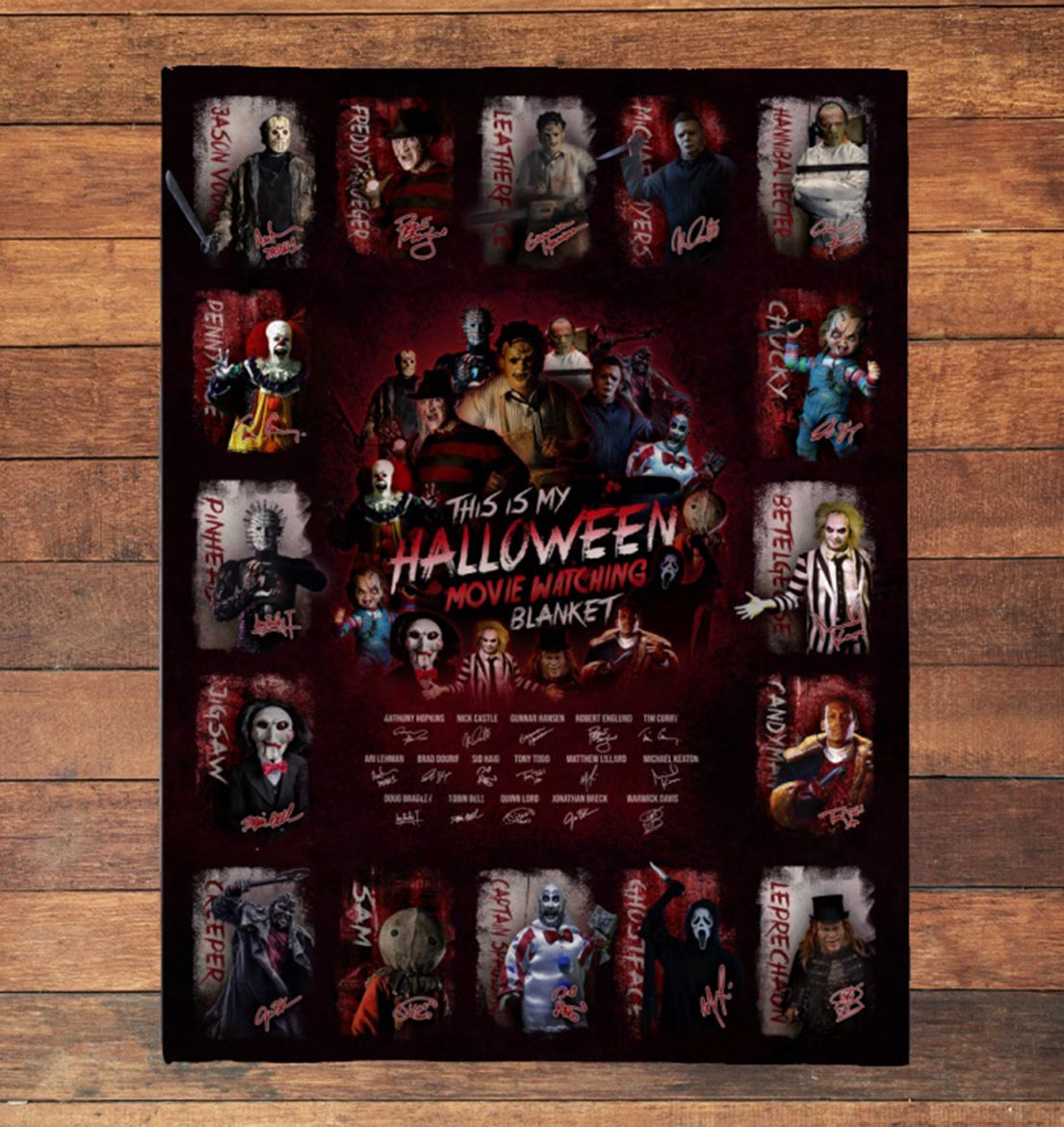 All classic horror movies characters This is my halloween movie watching blanket - Picture 1