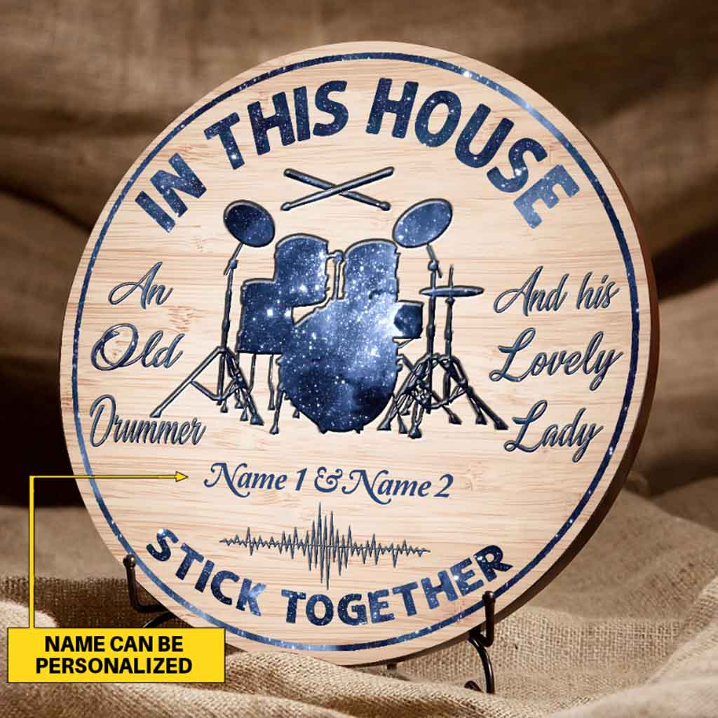 An old drummer personalized round wood sign - Picture 1