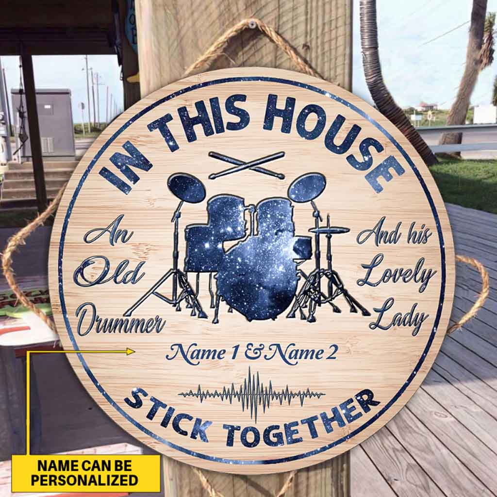An old drummer personalized round wood sign - Picture 2