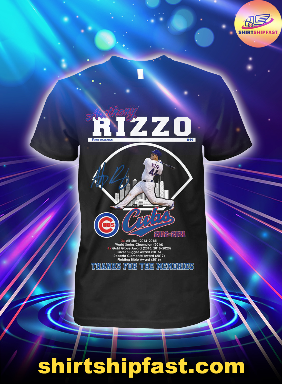 Anthony Rizzo first baseman 44 Chicago Cubs 2012 2021 thanks for the memories shirt
