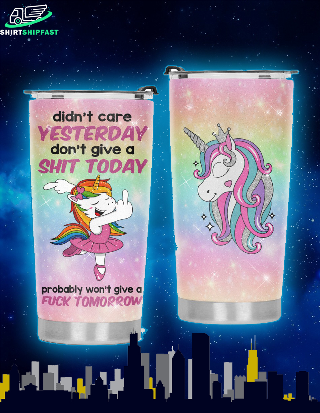 Ballet Unicorn didn't care yesterday don't give a shit today tumbler - Picture 1