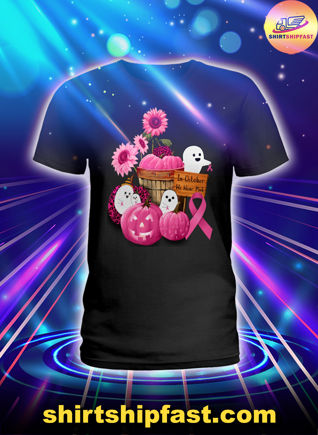 Breast cancer awareness In October we wear pink ghosts and pumpkins lady shirt