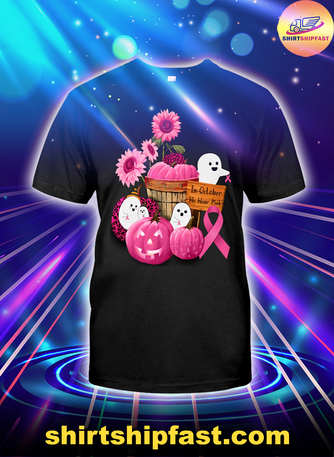 Breast cancer awareness In October we wear pink ghosts and pumpkins shirt