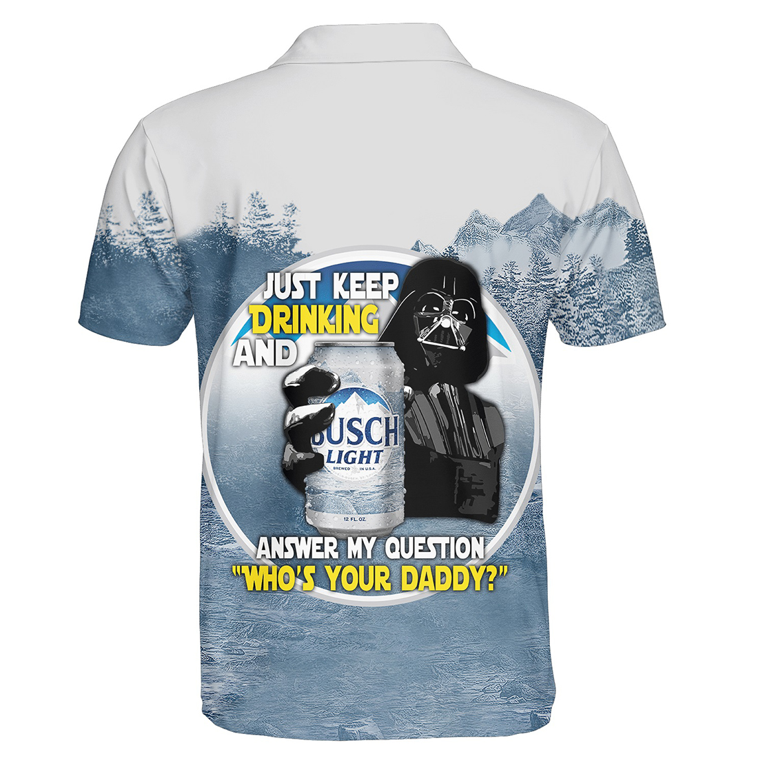 Busch Light Darth Vader with beer 3d polo shirt - Picture 1