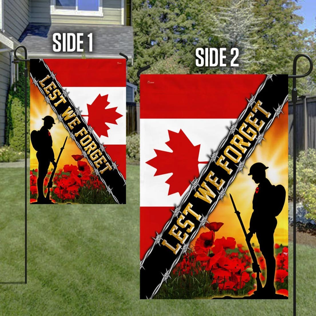 Canadian Remembrance day poppy Lest we forget veteran flag - Picture 1