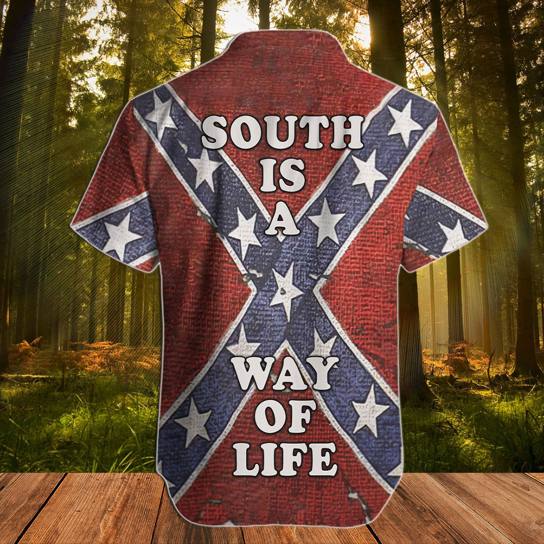 Confederate Flag South is a way of life hawaiian shirt - Picture 2