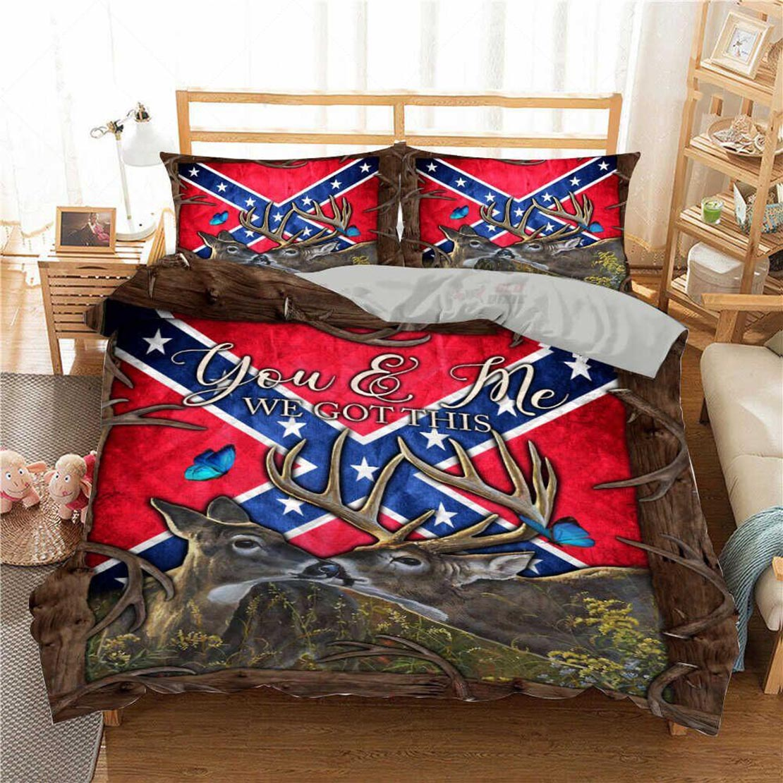 Confederate Flag Southern deer you and me we got this bed set - Picture 1