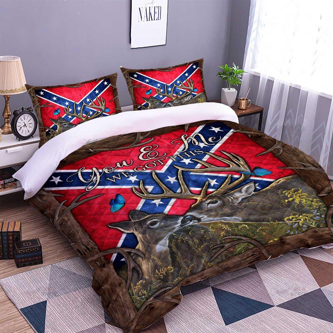 Confederate Flag Southern deer you and me we got this bed set - Picture 2