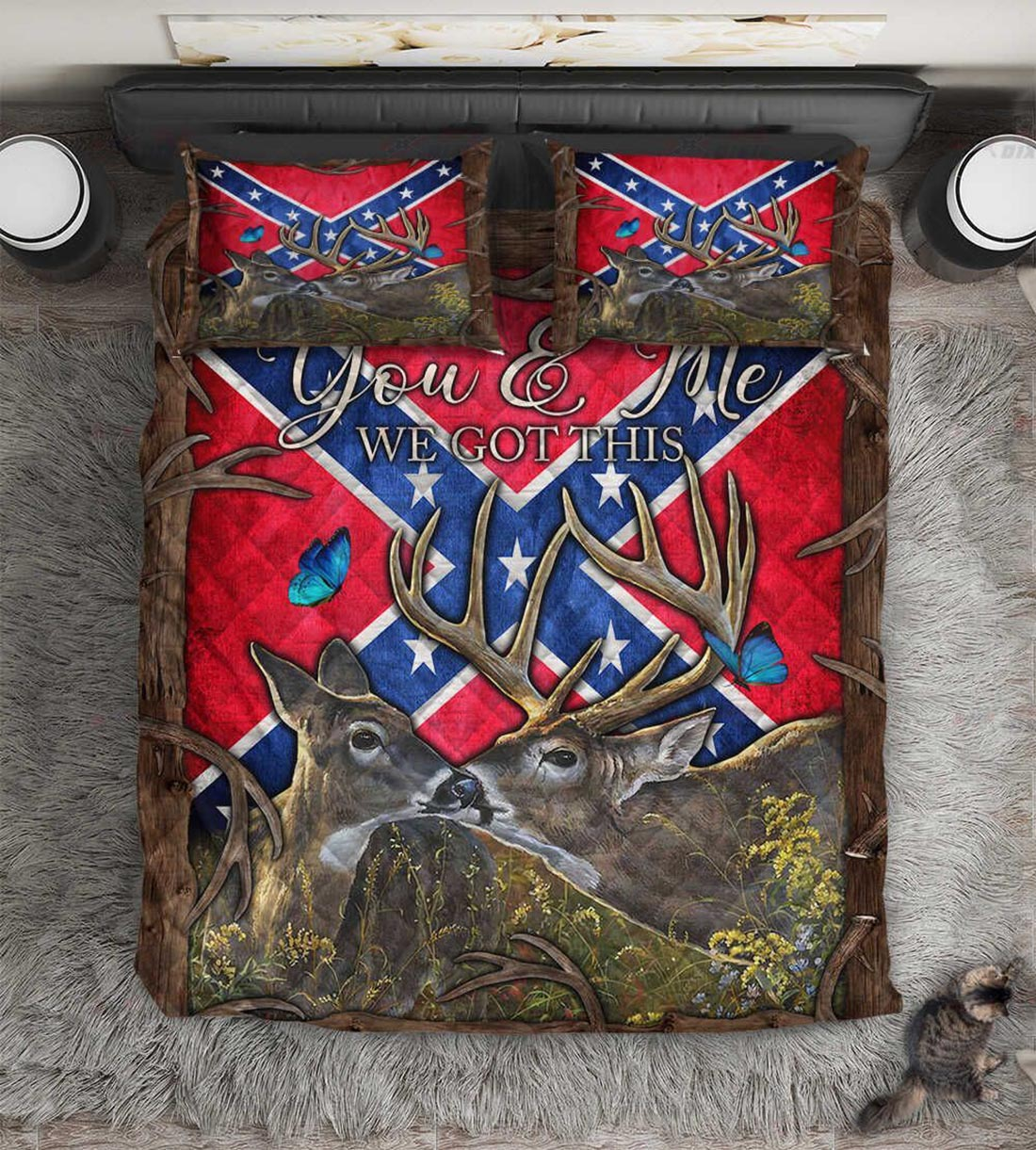 Confederate Flag Southern deer you and me we got this bed set