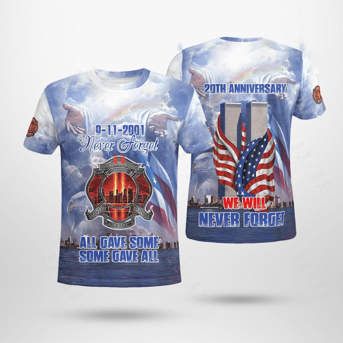 Firefighter 09 11 never forget 3D all over print t-shirt