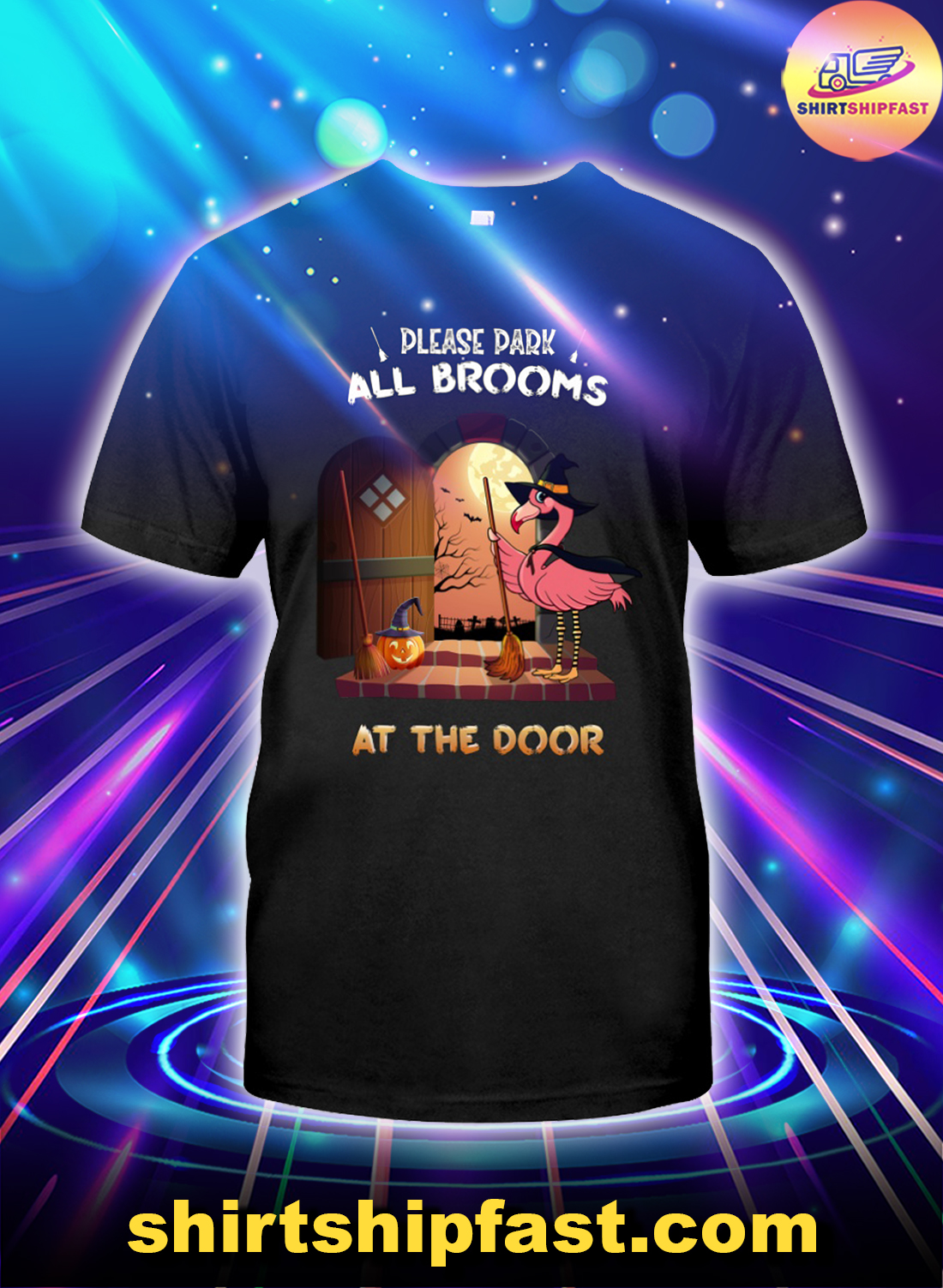 Flamingo halloween witch please park all brooms at the door shirt