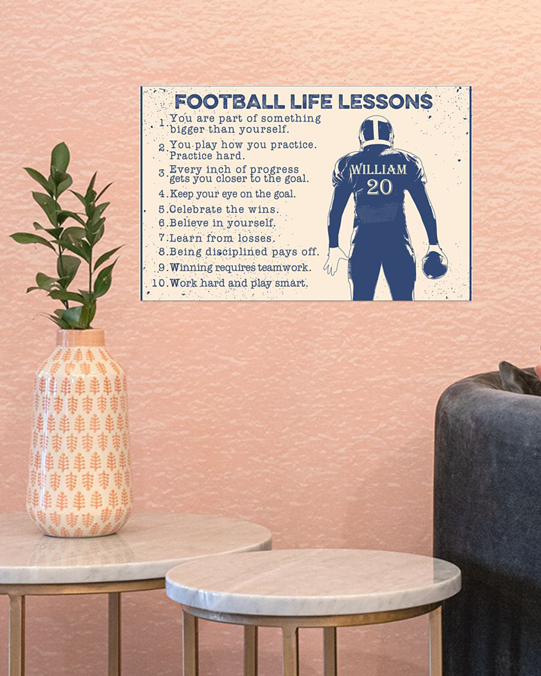 Football life lessons custom name poster - Picture 1