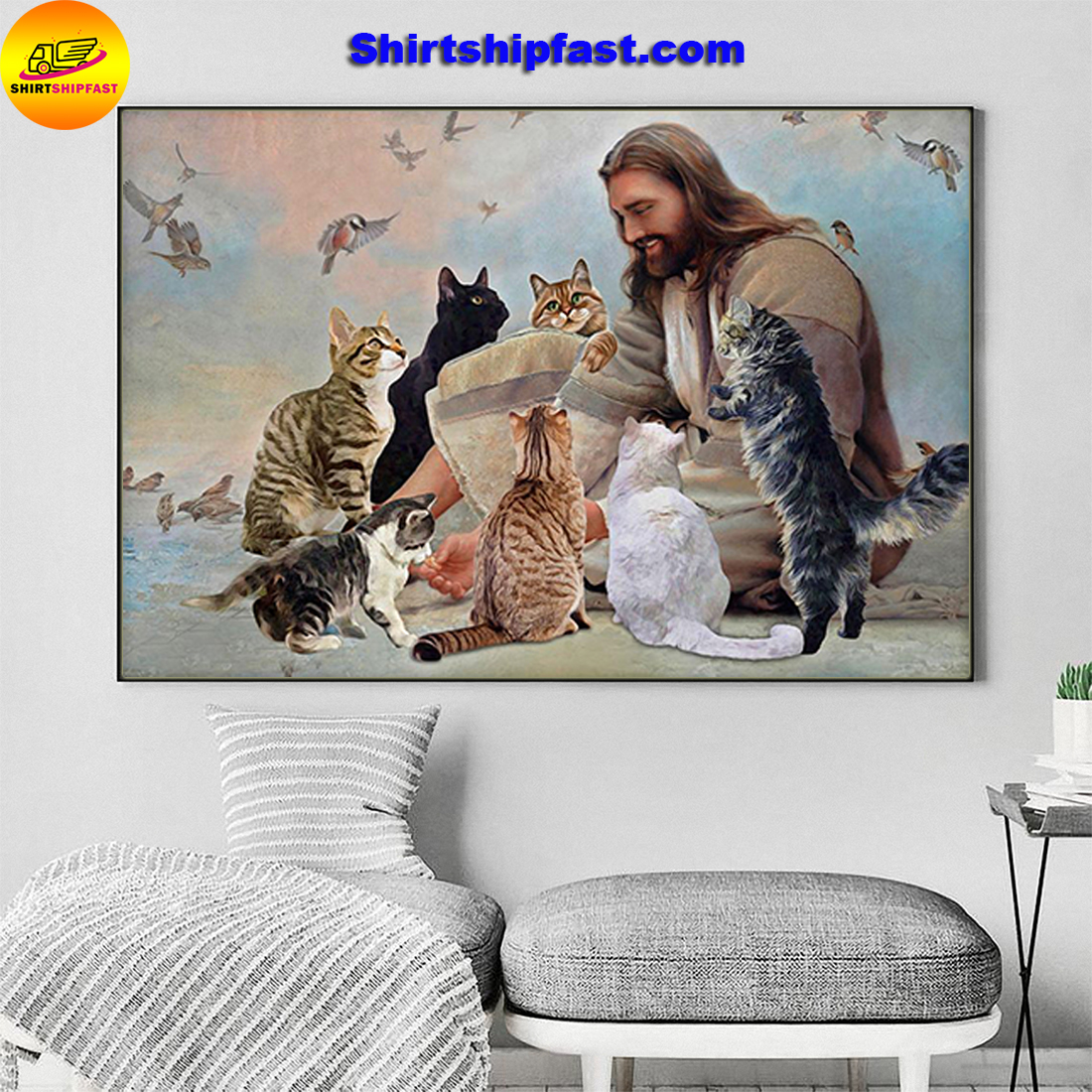 God surrounded by cats angels canvas and poster