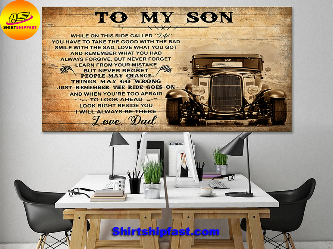 HOT ROD TO MY SON LOVE DAD CANVAS PRINTS - Picture 1