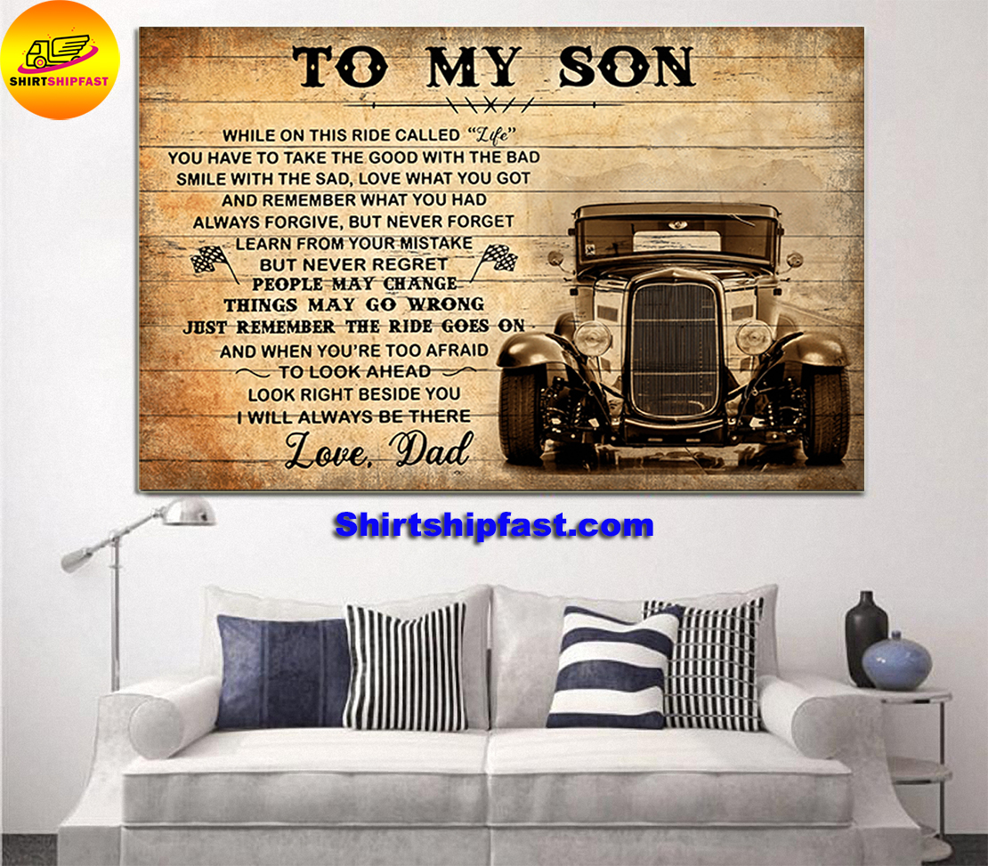 HOT ROD TO MY SON LOVE DAD CANVAS PRINTS - Picture 2
