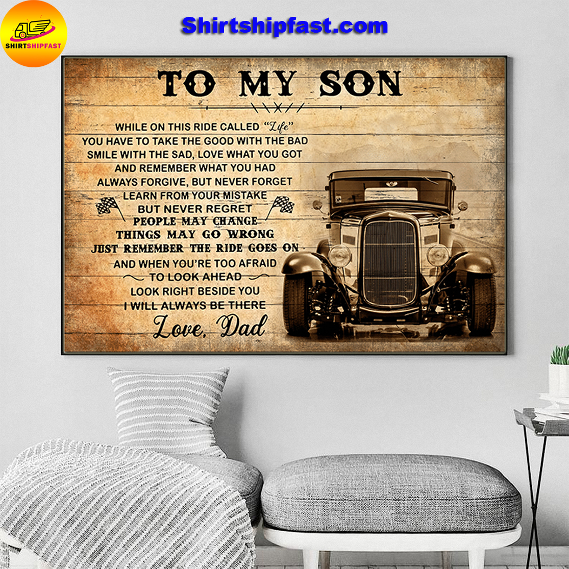 HOT ROD TO MY SON LOVE DAD CANVAS PRINTS - Picture 3