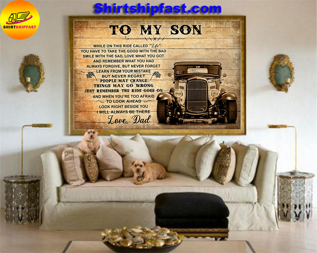 HOT ROD TO MY SON LOVE DAD CANVAS PRINTS