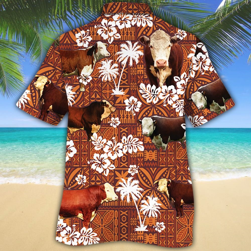 Hereford cattle lovers red tribal hawaiian shirt - Picture 1
