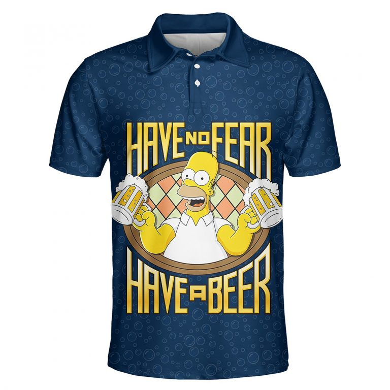 Homer Simpson with beer 3d polo shirt