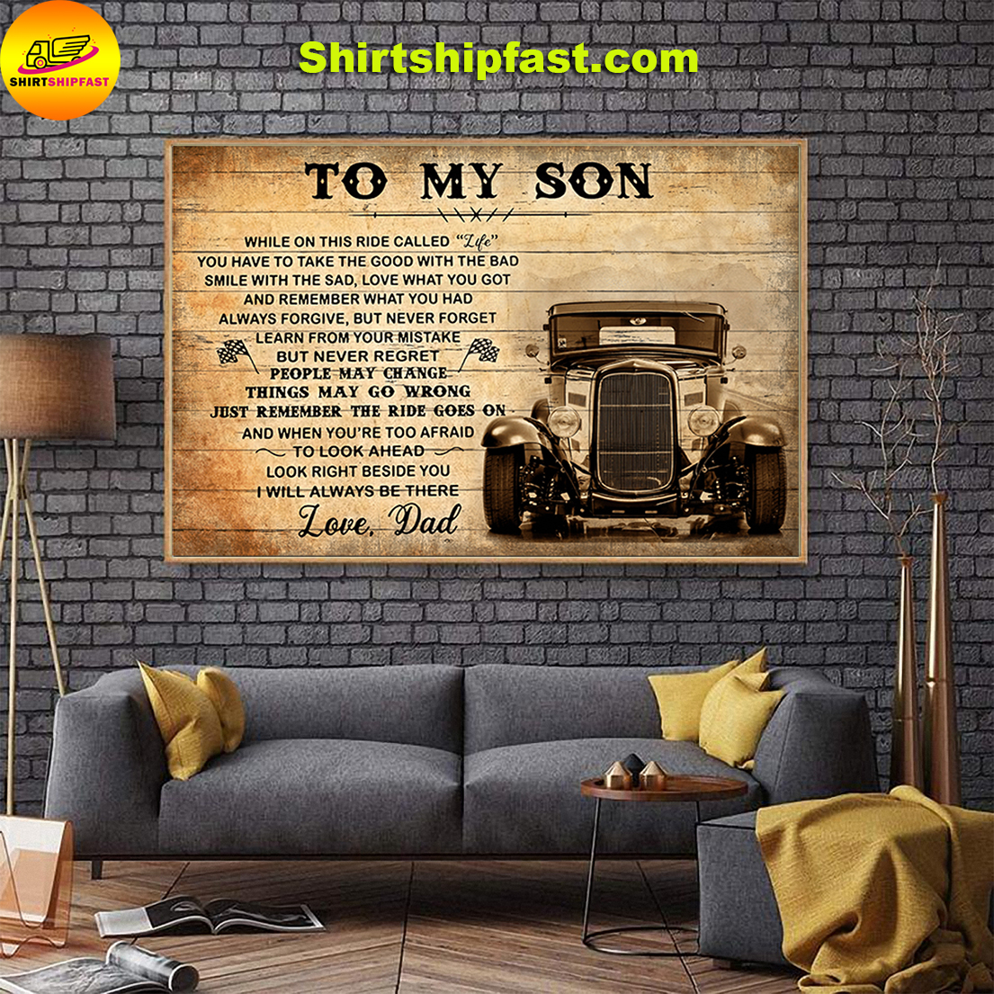 Hot rod To my son love dad canvas - Picture 1