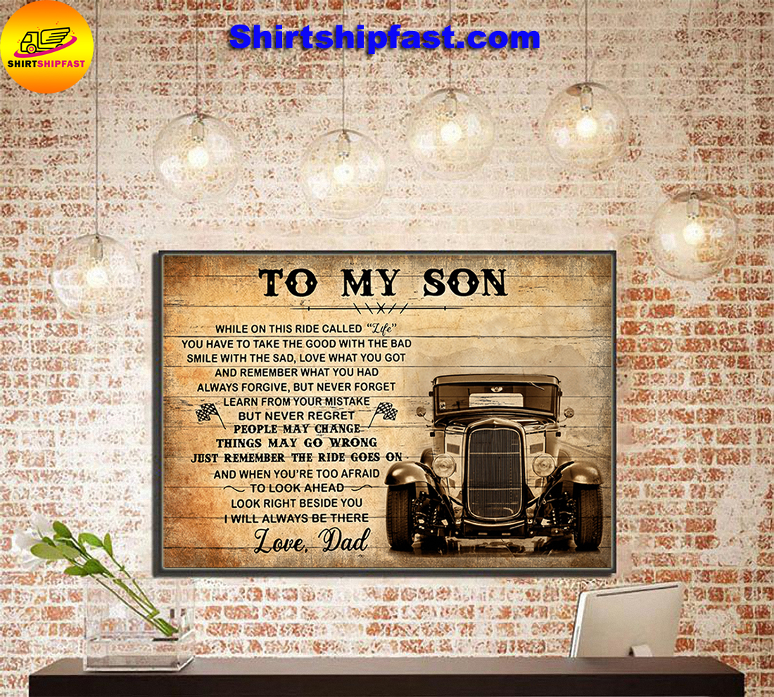 Hot rod To my son love dad canvas