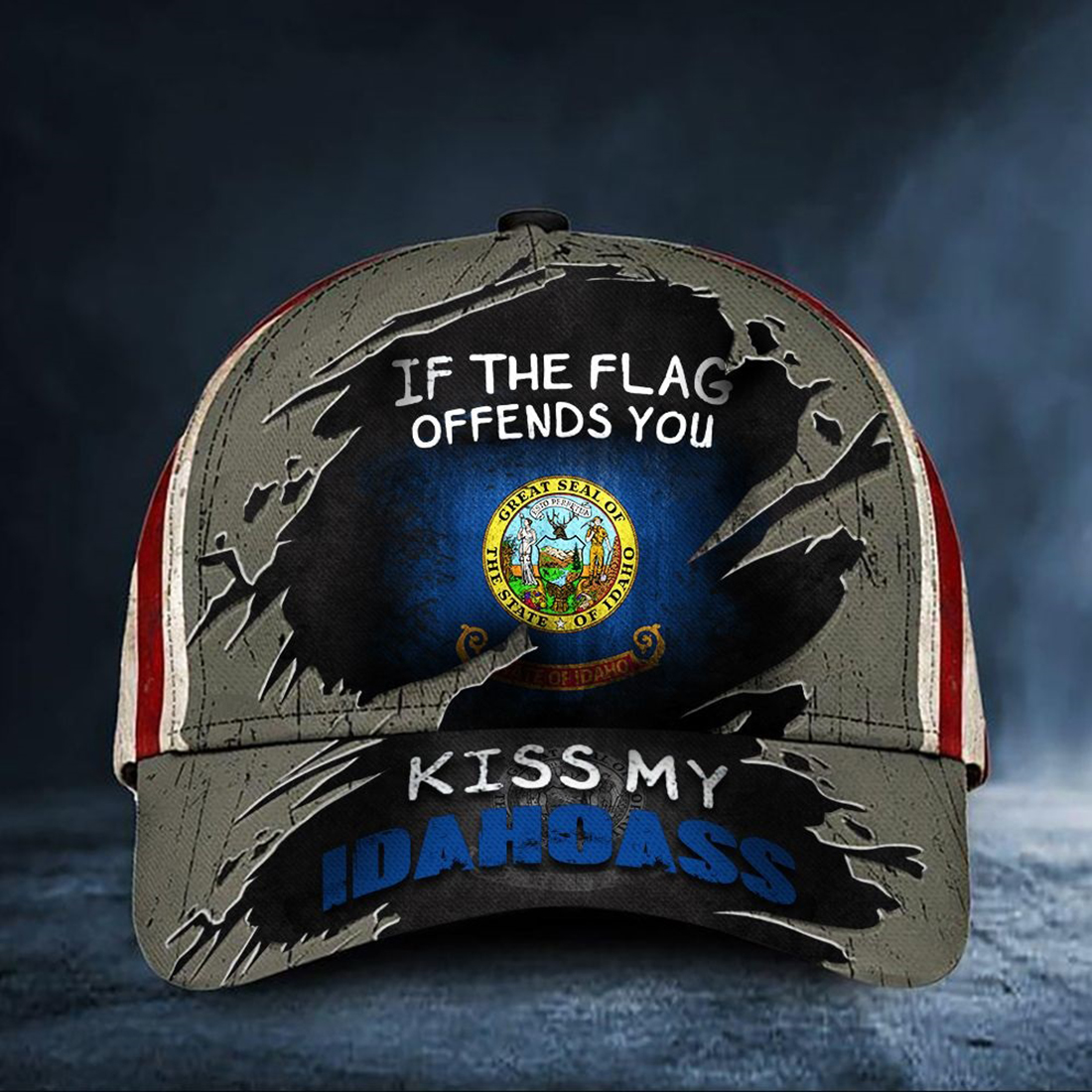 If The Flag Offends You Kiss My Idahoass Cap USA Flag Vintage Hat