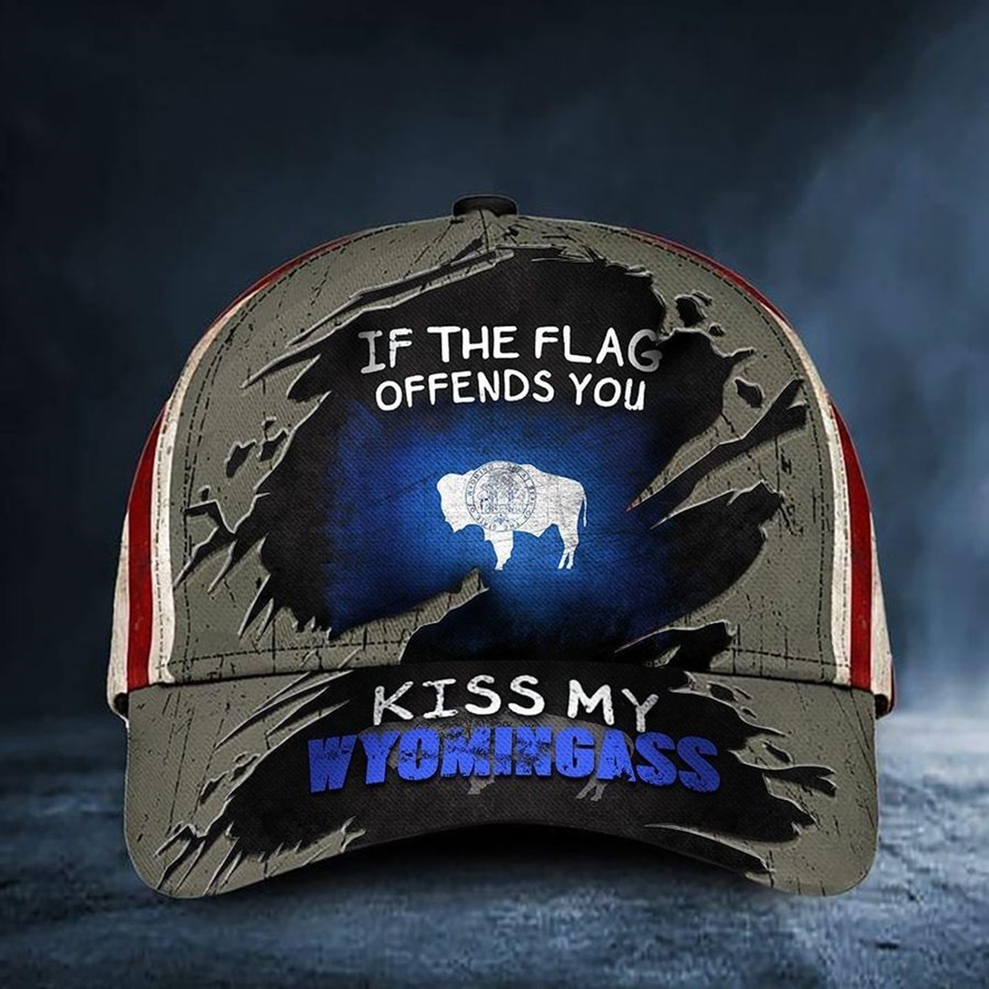 If The Flag Offends You Kiss My Wyomingass Cap Vintage American Flag Wyoming Hat Patriots