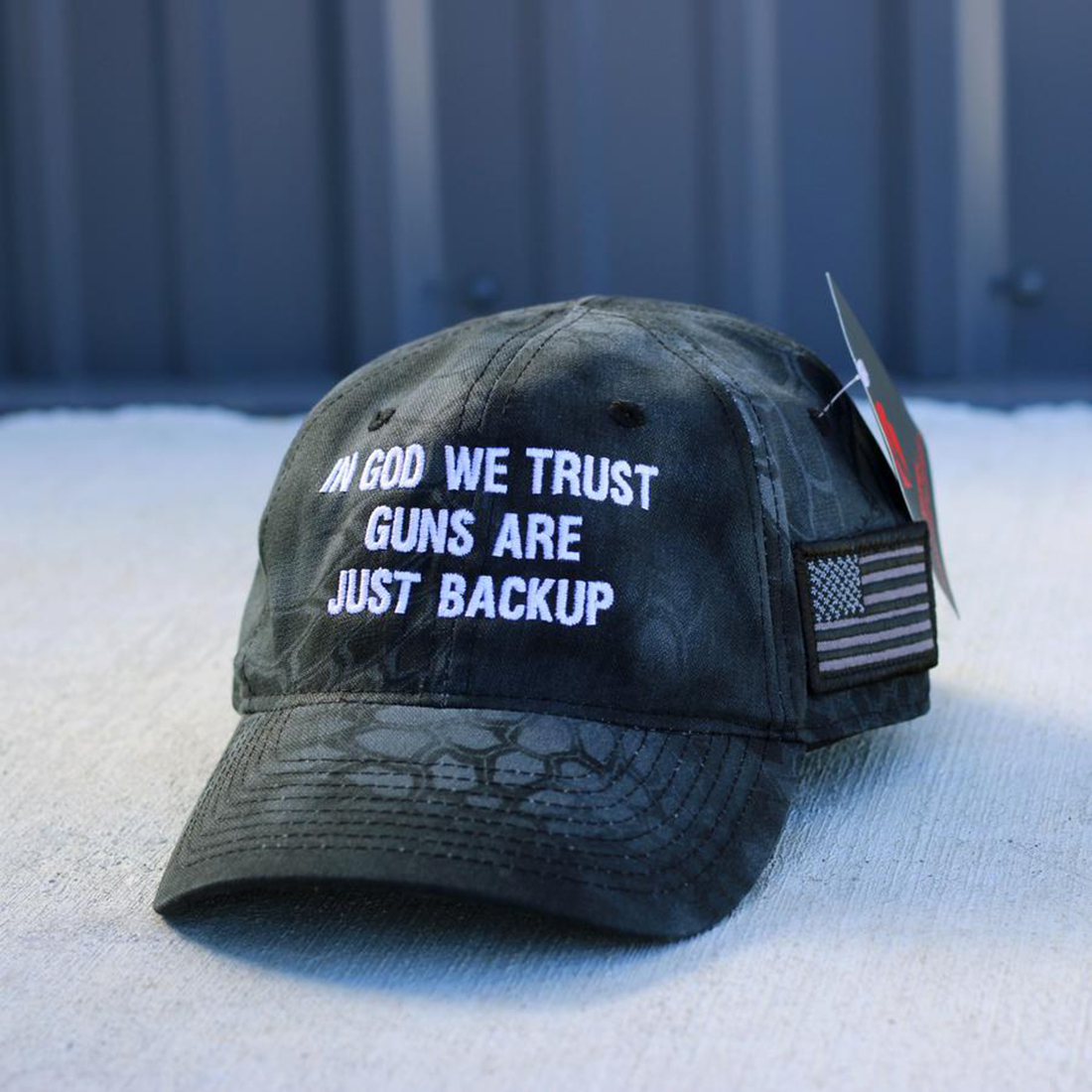 In god we trust guns are just backup hat cap