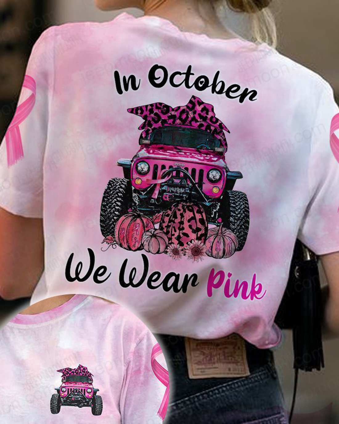 Jeep In October we wear pink 3d t-shirt and hoodie