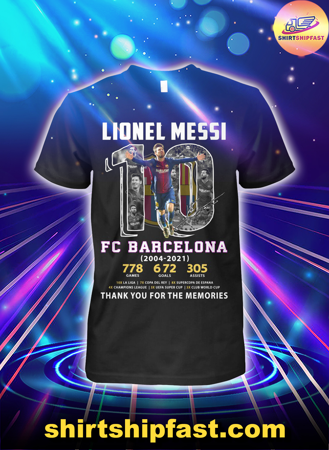 Lionel Messi FC Barcelona 2004 2021 thank you for the memories shirt