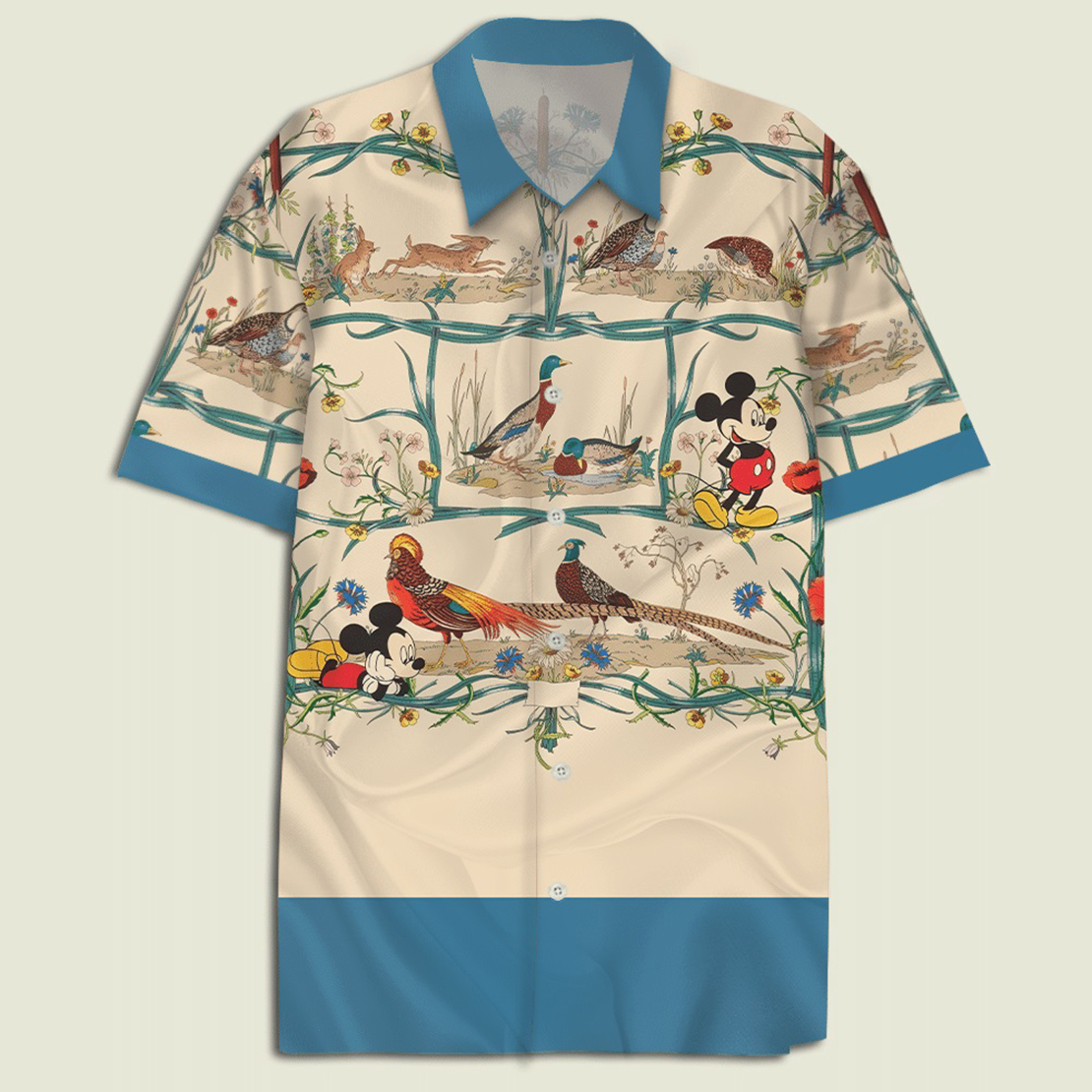 Mickey mouse with water fowls and floral hawaiian shirt - Picture 1