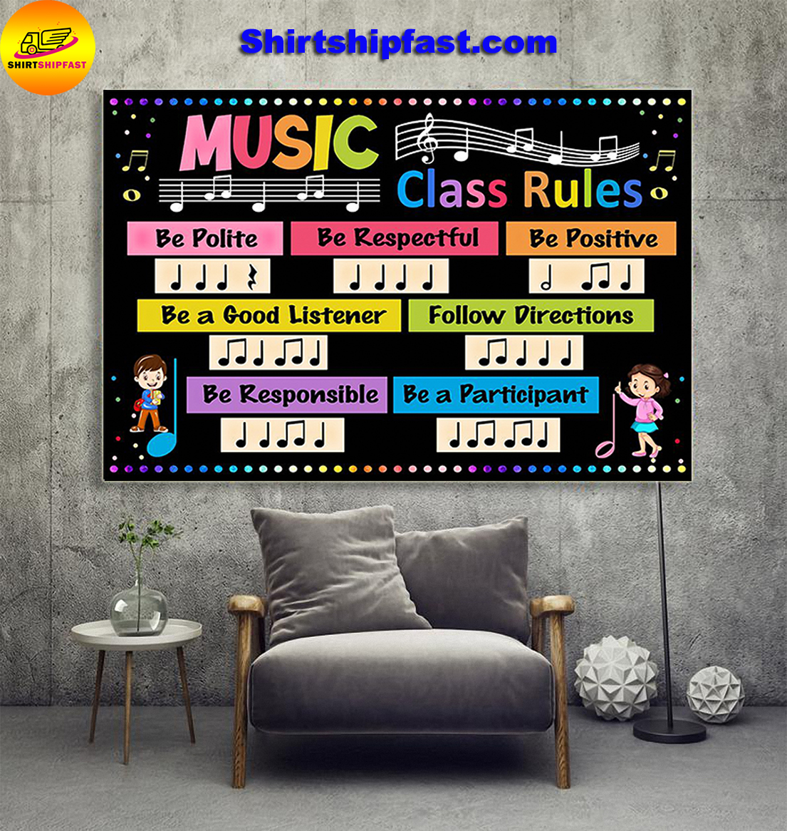 Music class rules be polite be respectful poster - Picture 1