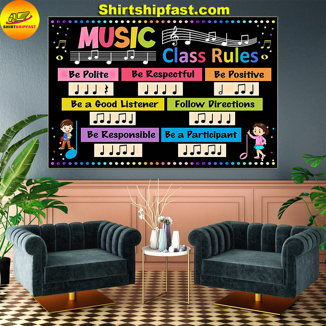 Music class rules be polite be respectful poster - Picture 2